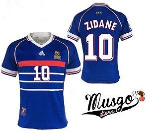 Camisa Adidas Esporte Futebol Seleção França Copa do Mundo 1998 Zidane Número 10 Azul
