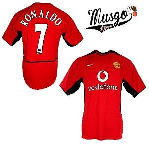 Camisa Nike Esporte Futebol Manchester United 2003 Cristiano Ronaldo Número 7 Vermelha