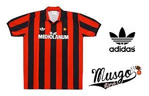 Camisa Adidas Esporte Futebol Milan 1992 Marco Van Basten Número 9 Listrada