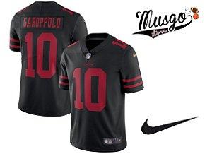Camisa Nike Esporte Futebol Americano NFl San Francisco 49ers Jimmy Garoppolo Número 10 preta