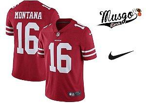 Camisa Nike Esporte Futebol Americano NFl San Francisco 49ers Joe Montana Número 16 Vermelha