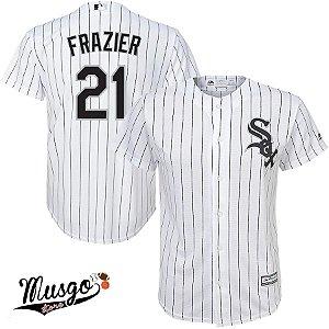 Camisa Esporte Baseball MLB Chicago White Sox Todd Frazier Número 21 Branca Listrada