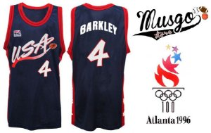 Camiseta Regata Esporte Basquete Seleção Americana Olimpiadas Atlanta 1996 Charles Barkley Número 4 Azul