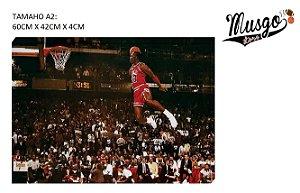 Quadro Esportivo Basquete Michael Jordan Campeonato de Enterradas