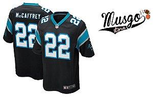 Camisa Nike Esporte Futebol Americano NFL Carolina Panthers Christian Mccafrey Número 22 Preta