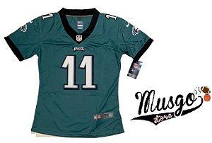 Camisa Nike Esporte Futebol Americano NFL Philadelphia Eagles Carson Wentz Número 11 Feminina
