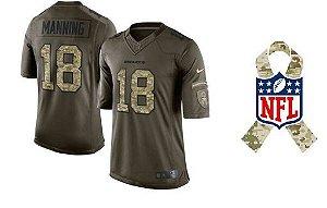 Camisa Esporte Futebol Americano NFL Denver Broncos Peyton Manning Número #18 Salute Militar Verde