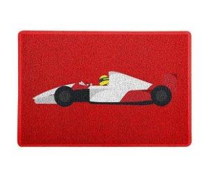 Tapete capacho esporte Temático Fórmula 1 Ayrton Senna Vermelho