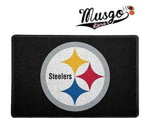 Tapete Capacho Esporte Futebol Americano NFL Pittsburgh Steelers Preto Logo
