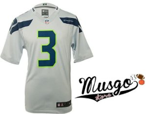 Camisa Esporte Nike Futebol Americano NFL Seattle Seahawks Russel Wilson Número 3 CInza