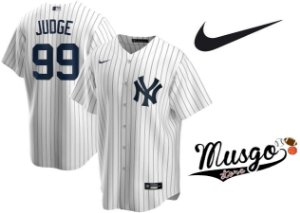 Camisa Nike Esporte Baseball MLB New York Yankees Aaron Judge Número 99 Branca Listrada