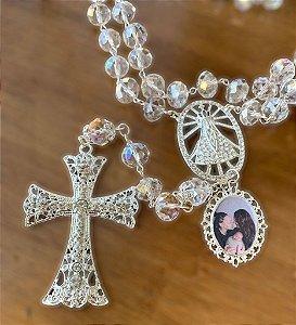 Terço personalizado com foto para noiva em cristais