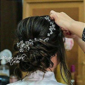Tiara de noiva banhada a ouro branco com cristais strass