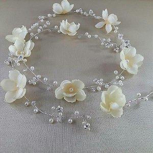 Fio para cabelo de noiva folheado a prata com pérolas e flores
