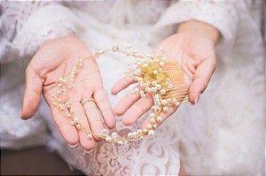 Pente para cabelo de  noiva dourado e pérolas