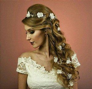 Fio de flores para trança de noiva