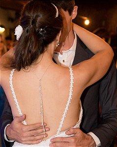 Colar invertido noiva folheado a prata pérolas