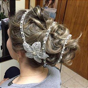 Tiara de noiva dupla com pérolas e flor