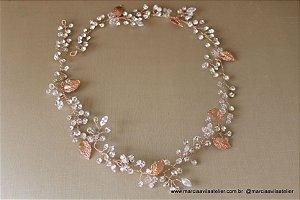 Tiara de noiva banho de  ouro rosé com strass