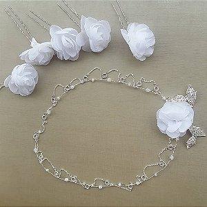 Headband para noiva em  pedrarias e grampos de flores brancas