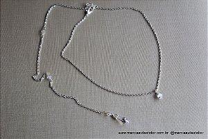 Colar invertido noiva gota de cristal boreal swarovski
