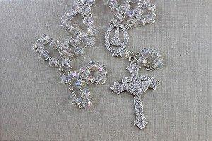 Terço para noiva  cristais boreais Nossa Senhora Aparecida