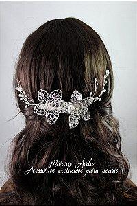Pente para penteado de  noiva folheado à prata