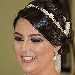Tiara headband noiva boho chic pérolas