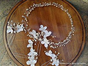 Tiara de noiva boho chique com grampos banho de prata