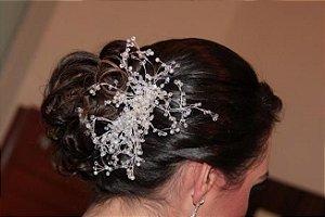 Pente para casamento chuva de cristais prata