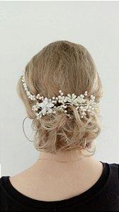 Headband ou tiara de noiva em pérolas e zirconias