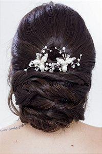Duo de grampos de cabelo para noivas em pérolas e cristais