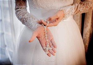 Terço para noiva cristal transparente
