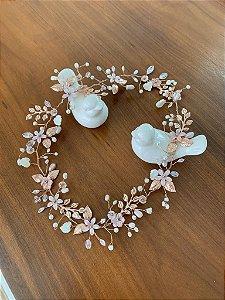 Tiara em cristais pérolas madrepérolas para noiva banho de ouro rosé
