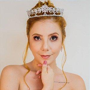 Tiara de noiva zircônia banho de ouro branco