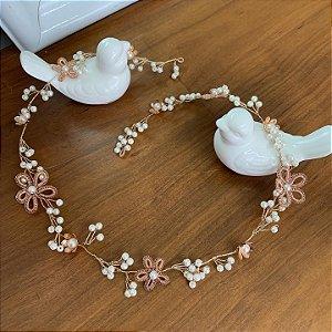 Headband para noiva de noiva em pérolas flores banho de ouro rose