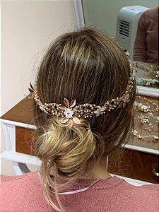 Tiara de noiva mini pérolas madrepérolas banho de ouro rosé