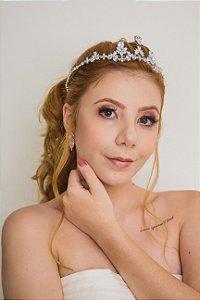 Tiara para noiva zircônias banhada de ouro branco