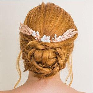 Pente para cabelo de noiva com madrepérolas banho de ouro rosé