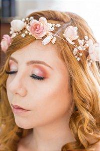 Tiara de noiva flores rosé banhada a ouro rosé