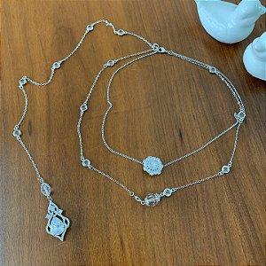Colar invertido noiva cristal e zirconias