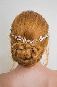 Tiara de noiva com flores de  madrepérolas