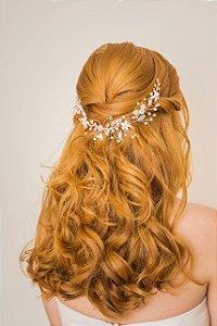 Enfeite arranjo para cabelo de noiva com madrepérolas banho de ouro rosé
