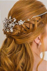 Headband ou tiara de noiva em strass e zirconias