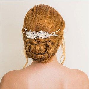 Pente para cabelo de noiva chuva de cristais prata