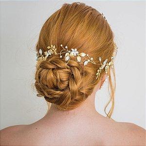 Tiara de noiva com flores de  madrepérolas banho de ouro