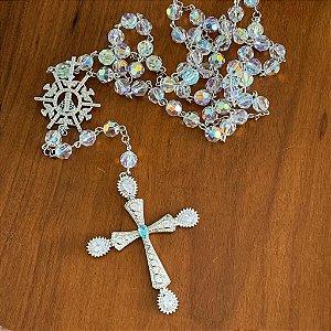 Terço para noiva cristais swarovski semi jóia
