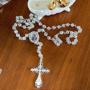 Terço em cristais para noiva rosário