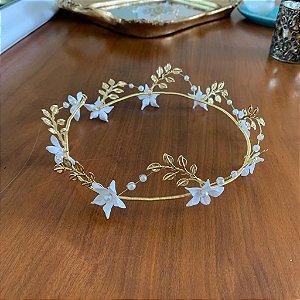 Tiara para noiva banho de ouro e pérolas