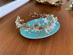 Tiara para noiva cabelo curto dourada